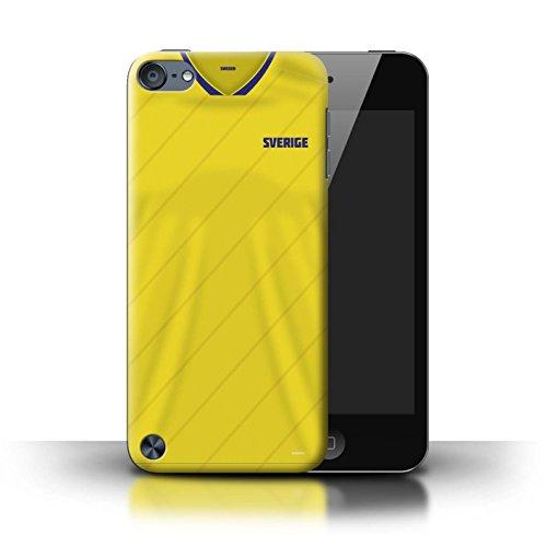 Stuff4® Custodia/Cover/Caso/Cassa Rigide/Prottetiva Stampata con Il Disegno Coppa Mondo 2018 Maglietta Calcio per Apple iPod Touch 5 - Svezia/Svedese