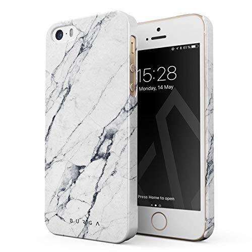 BURGA Cover per iPhone 5 / 5s / SE - Marmo Bianco Marmo Satin White Marble Design Sottile Guscio Resistente in Plastica Dura Custodia Protettiva