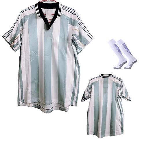 1998 Batistuta Jersey Retro De La Camiseta, Traje De Fútbol Clásico para Hombres Adultos, La Camiseta De La Selección Nacional De Fútbol, con Calcetines XL