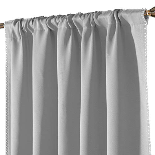LORDTEX Embroidered Blackout Curtains for Bedroom - Insulated Thermal Drapes, Room Darkening & Noise Reducing Back Tab and Rod Pocket Window Panels for Living Room, 2 Panels, 52 x 95 Inch, Silver Grey