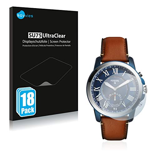 Savvies 18x Schutzfolie kompatibel mit Fossil Q Grant Hybrid (44 mm) Bildschirmschutz-Folie Ultra-transparent