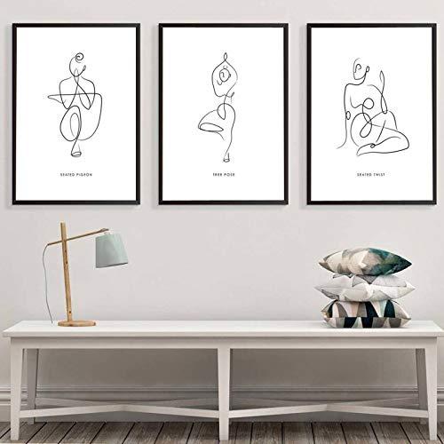 OKYQZ Minimalismus Lady Strichzeichnung Kunst Leinwand Malerei Yoga Abstrakte Poster und Drucke Moderne Home Wandkunst Dekoration 50 x 70 cm X3 Rahmenlos