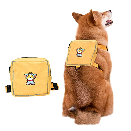 Podazz Dog Backpack Puppy Backpack Pet Carrier Backpack Snack Toy Storage Bag Harness Adjustable Chest and back integrated Saddlebag for Outdoor Travel Hiking Training -Yellow