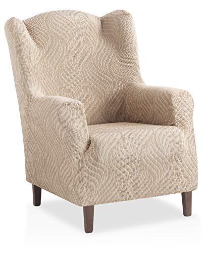 Bartali Stretch Husse für Ohrensessel Aitana - Farbe Elfenbein - 1 Sitzer (von 70 bis 110 cm)