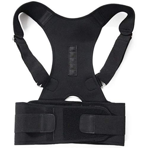 RZDJ Magnetfeldtherapie Körperhaltung Korrektor Brace Schulter Rückenstützgurt for Zahnspangen & Support Gürtel Schulter Haltung US-Aktien (Color : Black, Size : S)