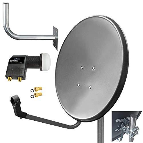 60cm HD Sat Anlage Twin LNB + Wandhalter 45 cm + 2 F-Stecker Digital 2 Teilnehmer Antenne grau UHD 4K