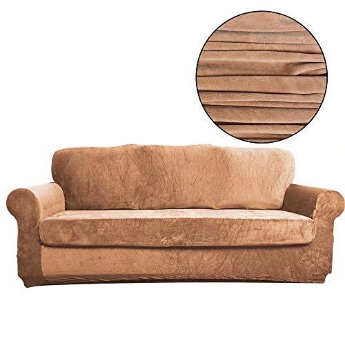 Yuany Fundas de sofá elásticas de 2 piezas Psh Spandex tela elástica con parte inferior elástica lavable, protector de muebles para mascotas, PeacockBe, 2 plazas, marrón claro, 1seater