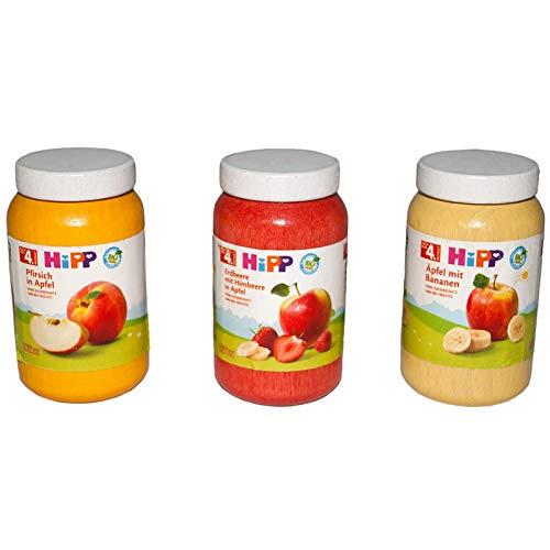 #1118 Kaufladenzubehör Hipp Gläser aus Holz, 3er Set - Hipp Gläschen Kaufladen Zubehör Kinderküche Kaufmannladen Lebensmittel