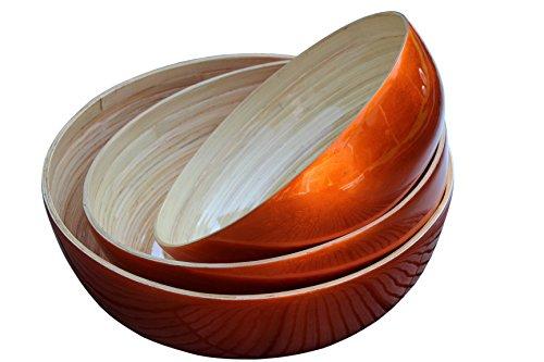 Grand bol SimSimTrend en bambou métallique laqué brillant XXL en 31 cm 35 cm ou 39 cm de diamètre, Orange Außenlackierung, 35 cm Durchmesser