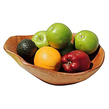 WELLAND Hand Carved Wooden Bowl salad bowl for Food & Vegetable Storage 12  x 11  x 5 .