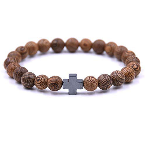 Lion&Son Wood Armband Unisex Gladiator Helm Buddha-Armreifen Perlen Holz Hamsa Skull Hantel Fitness Bracelet (Kreuz)
