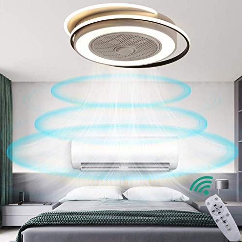 LLDS Fan Ceiling Light Lxn Luz Del Ventilador De Techo De Cristal Sala De Estar Control Remoto Invisible Ventilador De Techo Dormitorio Lámpara De Atenuación Silenciosa,Round
