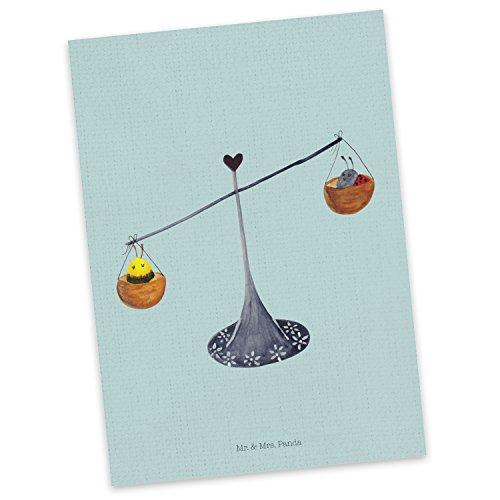 Mr. & Mrs. Panda Geschenkkarte, Grußkarte, Postkarte Sternzeichen Waage - Farbe Türkis Pastell