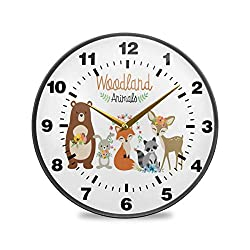 Promini Cute Woodland Forest Animals Wooden Wall Clock 12inch Silent Battery Operated Non Ticking Wall Clock Vintage Wall Decor for Kitchen, Living Room, Bedroom, School, or Office