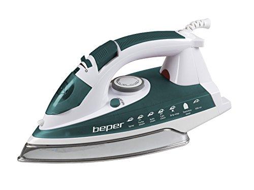 BEPER 50.131 Fer à Repasser Anticalcaire Auto Clean, Acier Inoxydable, Blanc/Vert, 30x12,8x15,5 cm