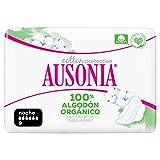 Ausonia Cotton Protection Noche (tamaño 3) Compresas Con Alas, 9, Capa Superior De Algodón 100% Orgánico