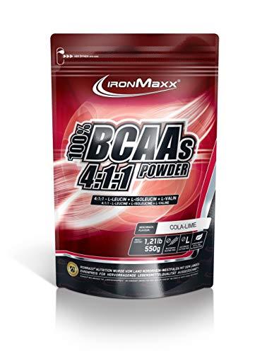 IronMaxx BCAA 4:1:1 – Hochkonzentrierte Aminosäuren für Muskelaufbau und Muskelerhalt – Vitamin B6 – Wenig Kohlenhydrate & Zucker – Cola-Limette-Geschmack – BCAA Pulver – 550g Beutel