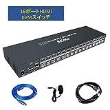 HDMI 切替器 KVMスイッチ16ポート、4K*2K@30Hz解像度をサポート、低解像度との下位互換性、USB-BおよびHDMIケーブル付き