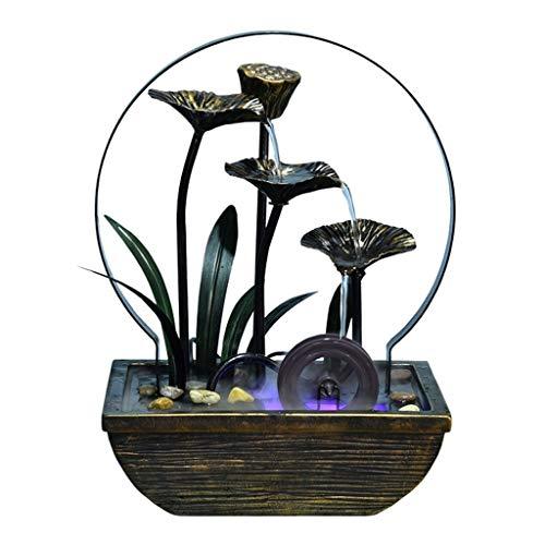 SKK Fuente de agua de escritorio Fuente de lirio de agua Cascada Fuente de interior Decoración perfecta para regalos a amigos (hierro) decoraciones (color : niebla)