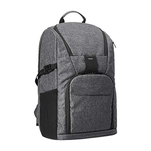 Amazon Basics – Mochila para cámara profesional DSLR y ordenador, poliéster 840D impermeable de alta densidad, gris ceniza