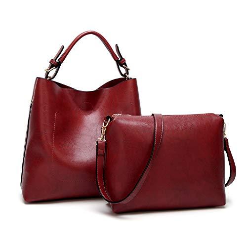 BAGTECH Donna Borsa Hobo PU Pelle Borse a Mano Modo Handbag Borsa a Spalla Set (Vino Rosso)