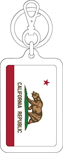 K-SK363 カリフォルニア州 California 100円国旗ステッカー キーホルダー (WHITE)