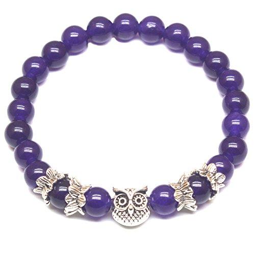 Weelovee Women Mens Inner Peace Heart Healing Amethyst Stone Bracelet 8MM Energy Beads Purple Gemstone Silver Owl