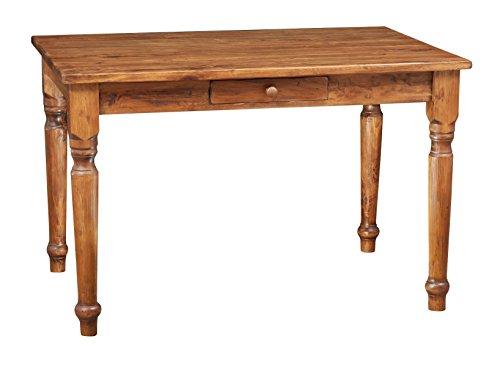 Biscottini Table carrée avec tiroir en Bois Massif de Tilleul – Style Rustique – Structure et Plateau en Noyer L 120 x P 80 x H 80 cm