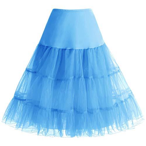 bbonlinedress Bbonlinedress Sommerkleid Petticoat schwarz Mini Rock Unterrock Crinoline Underskir Reifrock Blue S