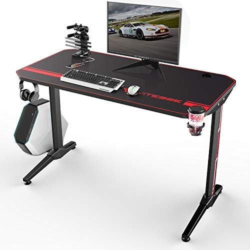 Vitesse 44 inch Gaming Desk Racing Style Computer Desk with Free Mouse pad, T-Shaped Professional Gamer Game Station with USB Gaming Handle Rack, Cup Holder & Headphone Hook (Black)