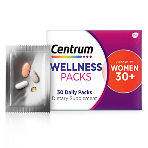 Centrum Wellness Packs Daily Vitamins for Women in Their 30s, Women's Vitamins with Complete Multivitamin, Vitamin D Supplements, Collagen I and III, Vitamin C 1000mg with Rose Hips - 30 Packs/1 Month