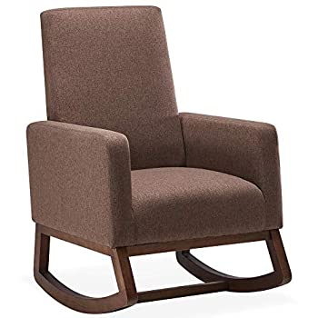 BELLEZE Modern Fabric High Back Armchair Upholstered Rocking Chair Padded Seat Wood Base Brown