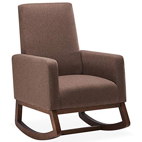 BELLEZE Modern Fabric High Back Armchair Upholstered Rocking Chair Padded Seat Wood Base, Brown