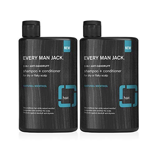 Every Man Jack 2-in-1 Anti-Dandruff Shampoo + Conditioner - Natural Menthol   Alleviating For Dry, Itchy Scalps, Naturally Derived, Cruelty-Free Mens Shampoo and Conditioner   13.5-ounce- Twin Pack