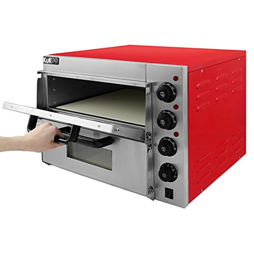 Electric Pizza Oven Maker Commercial (3000W, 350°C, 2 Baking Chambers, 2 Stone Floors: 41.5 x 41.5 x 11.5cm, Timer 120…