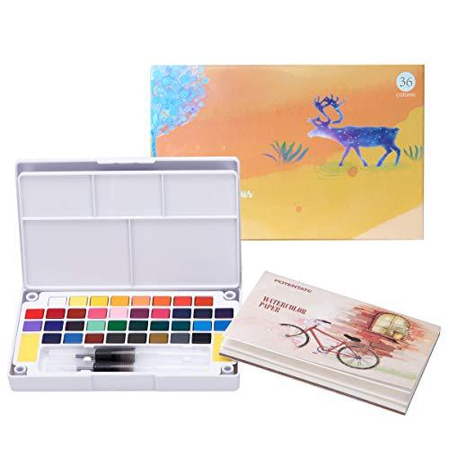Sweetone Acuarelas Profesionales | Set de Pintura de Acuarelas Compuesto por 36 Colores Brillantes, 2 Pinceles con depósito de Agua, Pincel de Nylon y 12 Hojas de Papel Especial para Acuarelas