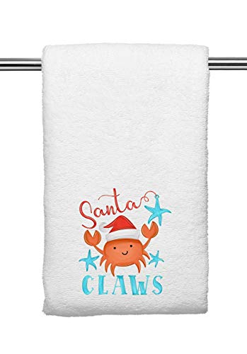 Decorative Kitchen and Bath Hand Towels   Cute Crab Santa Claws   Christmas Winter Beach Clause   White Towel Home Decor Holiday Decorations   XMAS Gift Present