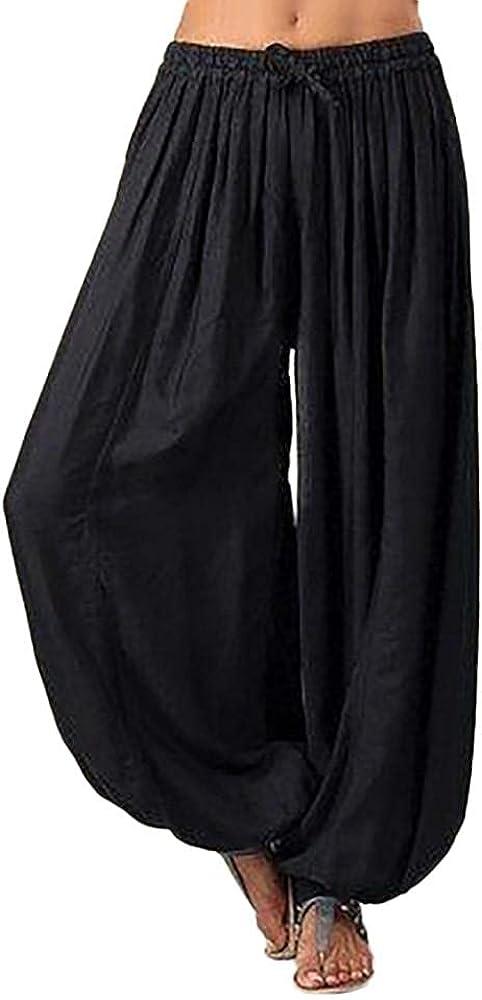 WUAI-Women Comfy Bohemian Pants Tapered Elephant Harem Loose Travel Pajama Lounge Boho Hippie Yoga Pants Plus Size