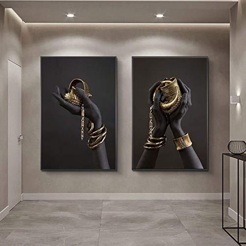Nativeemie Cuadro Lienzo Mano Mujer Negra Africana con Joyas Oro Pinturas Lienzo Carteles Impresiones Imágenes artísticas Pared Sa Estar Decor para el hogar 40x50cm / 15.7'x19.7 X2 Marco Interno