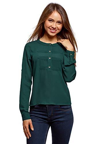 oodji Ultra Mujer Blusa de Gasa Estilo Militar, Verde, ES 34 / XXS
