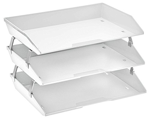 Acrimet Facility 3 Tier Letter Tray Side Load Plastic Desktop File Organizer (White Color)