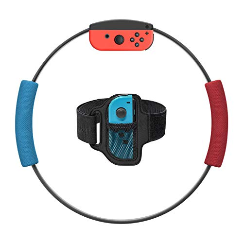 Ring-Con Grips and Leg Fixing Strap for Nintendo Switch Game, Non-Slip Grips Adjustable Leg Fixing Strap Set Kit for Switch Joy-Con Fit Adventure Game. NOT Include Ring-Con (Red and Blue)