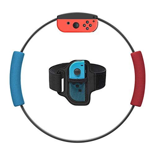 Ring-Con Grips y correa de fijación de pierna para Nintendo Swith Game, agarre antideslizante, juego de correa de fijación de pierna ajustable para Switch Joy-Con Fit Adventure Game