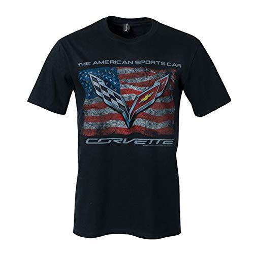 C7 Corvette The American Sports Car Vintage USA Flag Men's T-shirt : Black (X-Large)