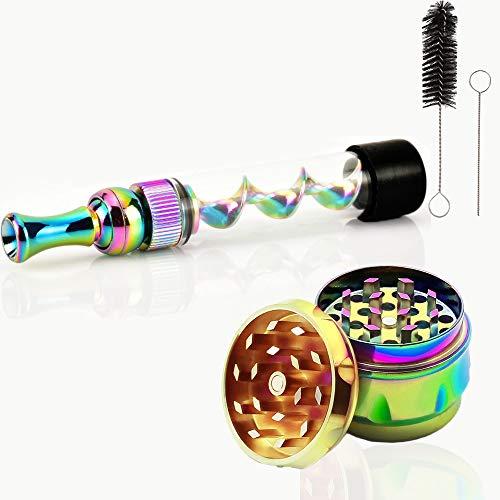 Dencalleus Twisty Glass Blunt Mini Kit Pfeife Pipe Vaporizer Tragbar Grinder Mühle für Herb Perfekt für Unterwegs Zubehörteil (Mehrfarbig)