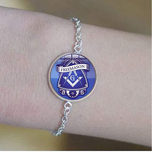 bab Collar con insignia masónica de masonería cuadrada y brújula Art Logo Pulseras de cúpula de cristal - Joyería de mensaje positivo