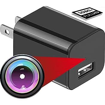 USB Hidden Camera Charger Mini Spy Camera USB Spy Camera Wall Charger Wireless Hidden Cameras and Nanny Camera for Bathroom&Home Micro Full HD 1080p Surveillance Cam  Black