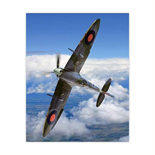 Supermarine Spitfire MK IX -British Fighter Jet Poster Print -8x10' Military Aircraft Wall Decor Image-Ready to Frame. Home-Office-Military School Decor. Perfect Sign for Game Room-Garage-Cave Decor!