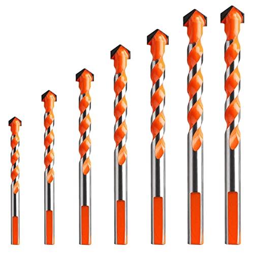 Juego de brocas de mampostería de 7 puntas de carburo de tungsteno para baldosas de cerámica de porcelana, hormigón, pared de ladrillo, vidrio, espejos, plástico, madera, metal(3 4 5 6 8 10 12mm)