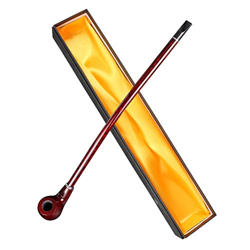 Hysagtek 41cm Pipa di Legno Pipa da Tabacco Pipa Lunga Classica Pipa Curva e Confezione Regalo per i Fumatori
